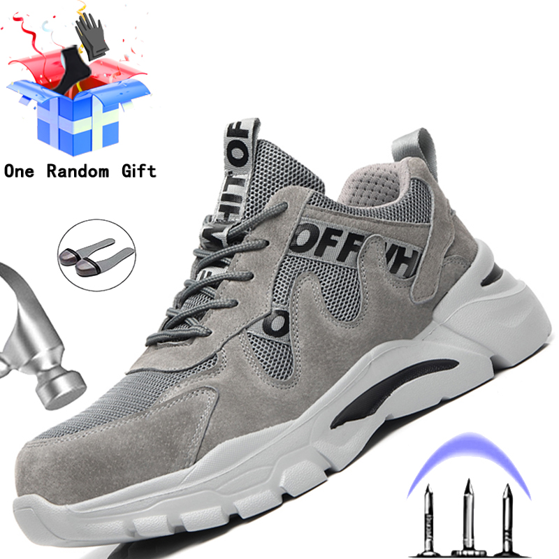 New Work Boots Safety Steel Toe Shoes Men Work Sneakers Puncture Proof Boots Safety Shoes Men Industrial Shoes Security Boots