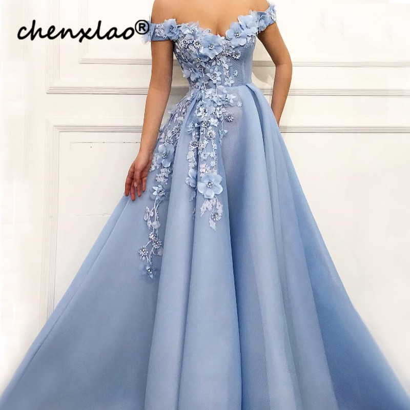 Sky Blue Evening Dress 3D Flower Evening Dresses Long Muslim Style Evening Party Dress Formal Gowns Vestido De Festa Longo