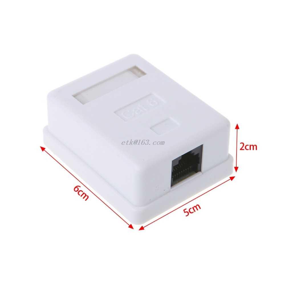 Cat6 RJ45 8P8C Dinding Coupler Jack Adaptor UTP Unshielded Single Port Desktop Mount Kotak Putih