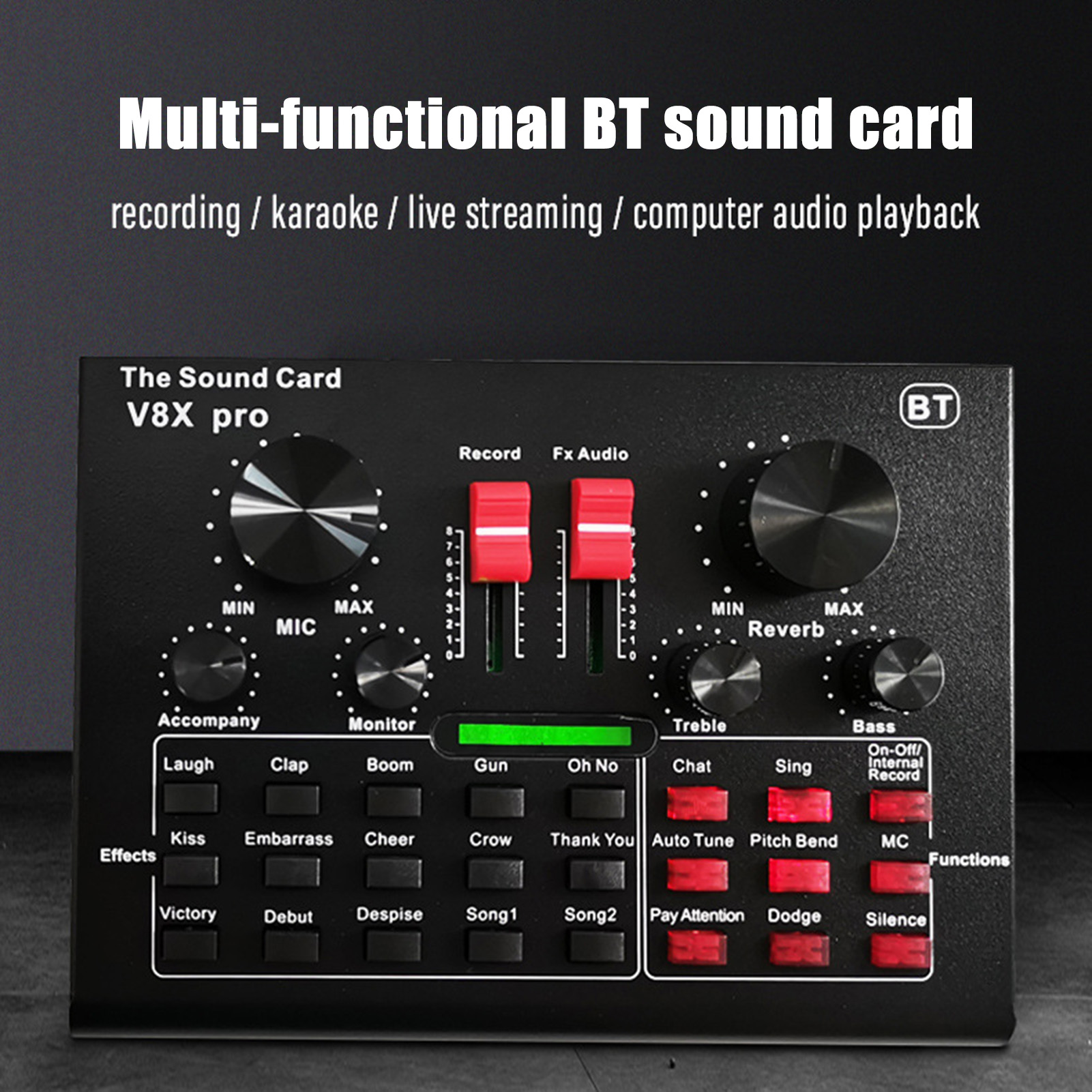 V8X Pro Live Sound Card 15 Sound Effects Audio Recording Equipments Streamer Live Broadcast for PC Phone Computer