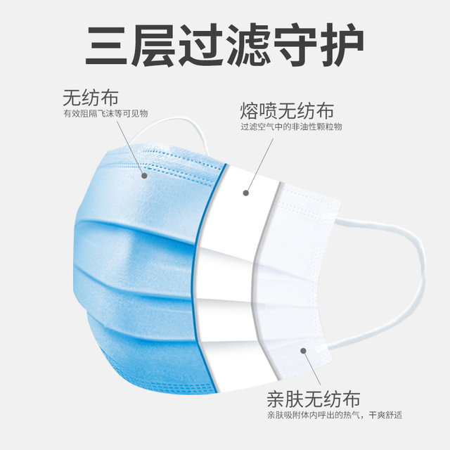 50 dust-proof disposable masks with elastic earrings 3 layers of breathable can block dust air pollution anti flu 2