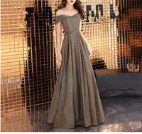 Summer Women Sexy Off Shoulder Evening Party Long Dress Vintage Glitter Slash Neck Maxi Dresses Elegant High Waist Club Dress