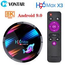 4gb 128gb h96 max x3 smart android caixa de tv 9.0 64gb 32 amlogic s905x3 quad core wifi 8k h96max x3 tvbox android conjunto caixa superior