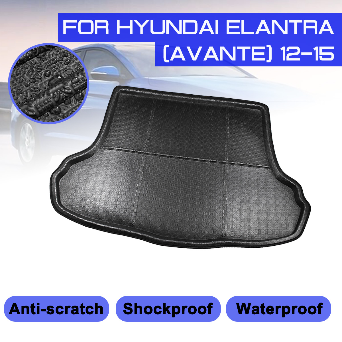 For Hyundai Elantra Avante  2012-2015 Car Rear Trunk Boot Mat Waterproof Floor Mats Carpet Anti Mud Tray Cargo Liner