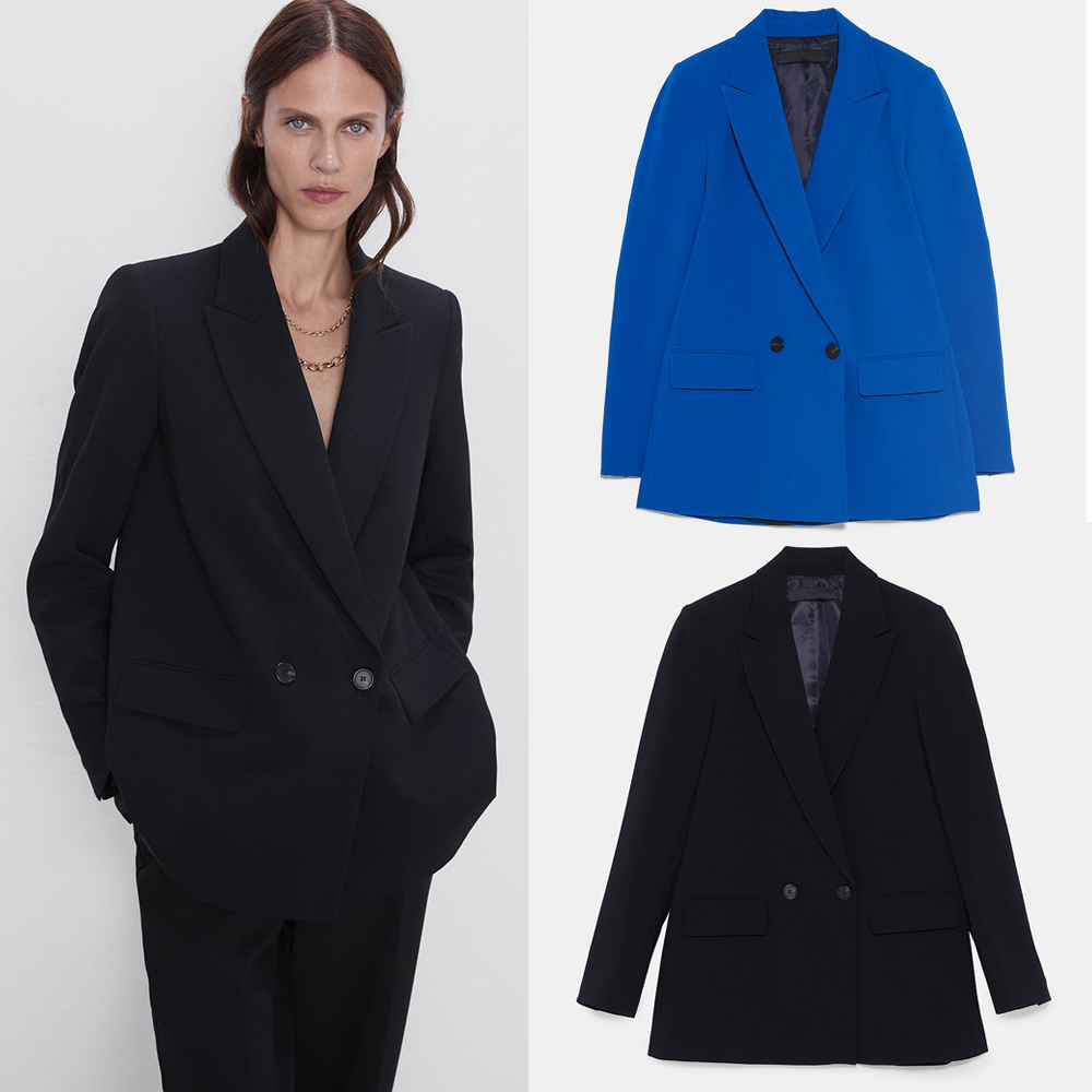 ZA Double-Breasted Blazer Trendy 2019 Autumn Winter Long Sleeve Solid Coat Female Office Wear Casual Tops Party Gifts Wholesale