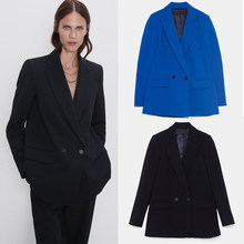 ZA Double-Breasted Blazer Trendy 2019 Autumn Winter Long Sleeve Solid Coat Female Office Wear Casual Tops Party Gifts Wholesale(China)