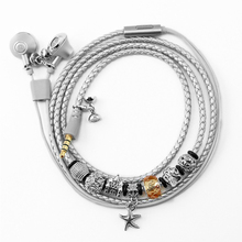 Paris Tower Charm Silver Bracelet earphone and Love Sweet Stereo B