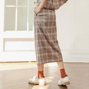 Image 2 - INMAN зимняя однотонная однобортная трапециевидная юбка в стиле ретро