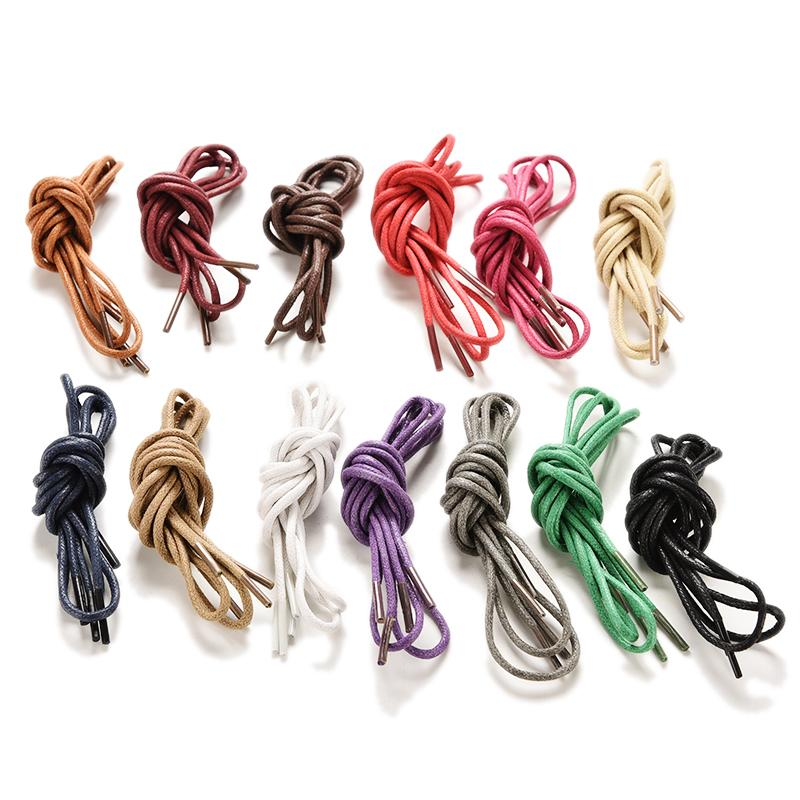 1Pair Waxed Coloured Shoelaces For Leather Shoe Lace Round Strings Martin Boots