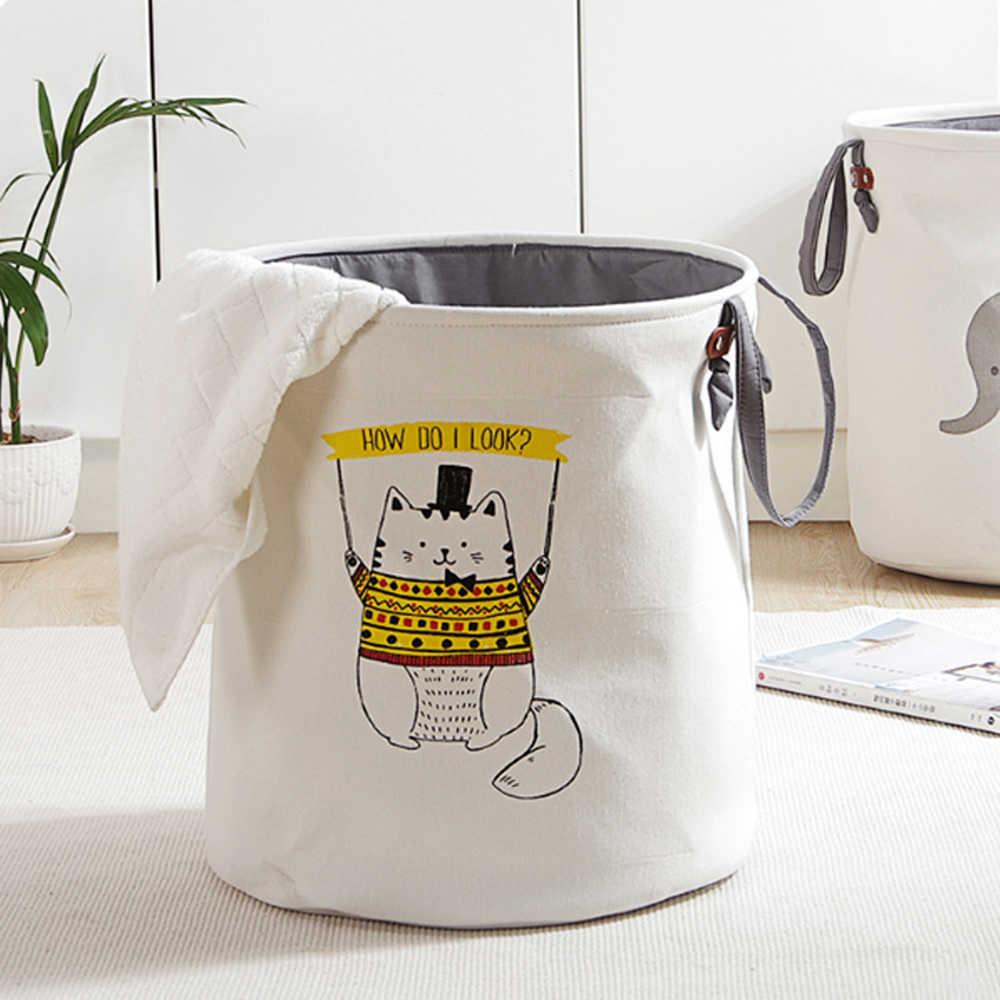 1 قطعة سلة الغسيل القابلة للطي جولة صندوق تخزين حقيبة كبيرة تعوق لطي الملابس لعبة حامل دلو المنظم سعة كبيرة