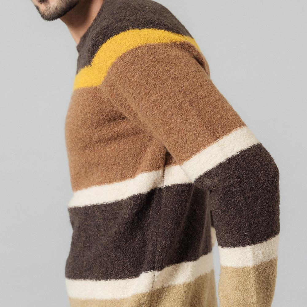 Image 4 - SIMWOOD 2019 Autumn Winter New Sweater Mix Wool Jacquard Contrast  Color Striped Knitted Pullovers Plus Size 190411Pullovers   -