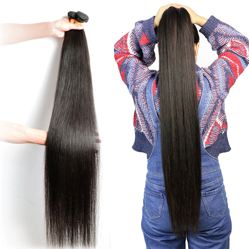 30 32 34 36 inch Indian Hair Straight Hair  Bundles 100% Natural  1 3 4 Bundles Double Wefts Thick  Hair 1