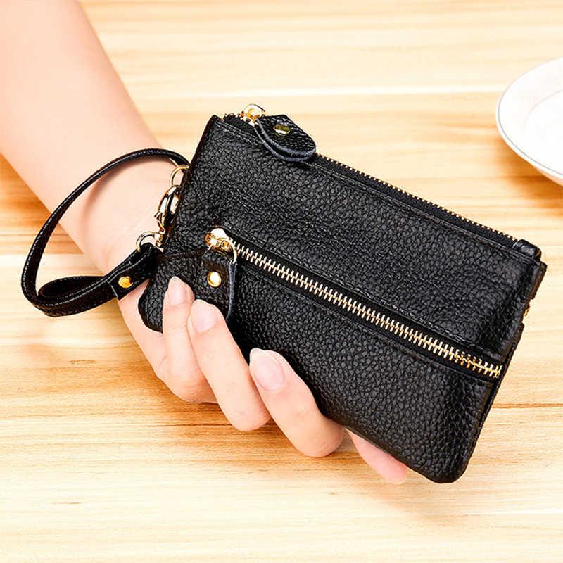 Moda vintage carteira de couro genuíno dos homens chave titular chaves de governanta organizador feminino multifuncional capas zíper caso chave saco