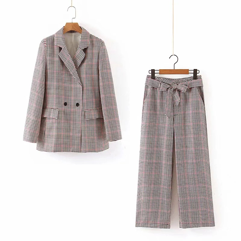 Temperament Casual Women's Suit 2019 Autumn Double-Breasted Plaid Blazer Half Skirt Suit Casual Trousers Three-piece Suit