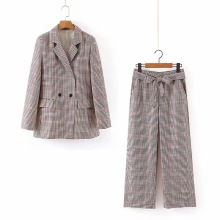Temperament casual womens suit 2019 Autumn Double-Breasted Plaid Blazer Half skirt Casual trousers Three-piece