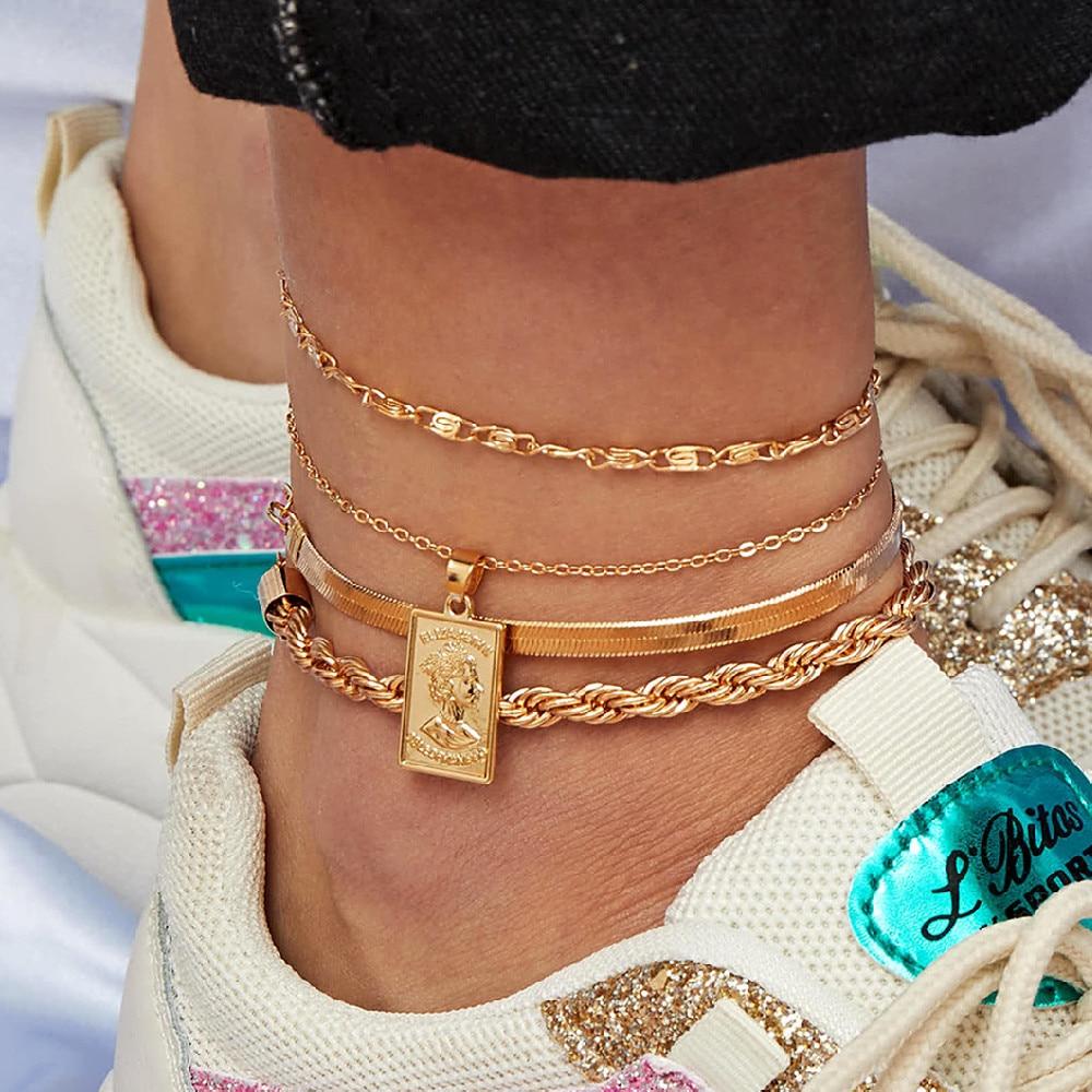 4Pcs/Set Bohemian head portrait Pendant Anklet Set Snake Chain Leg Foot Bracelet Chunky Chain Handmade Bracelet Set for Women