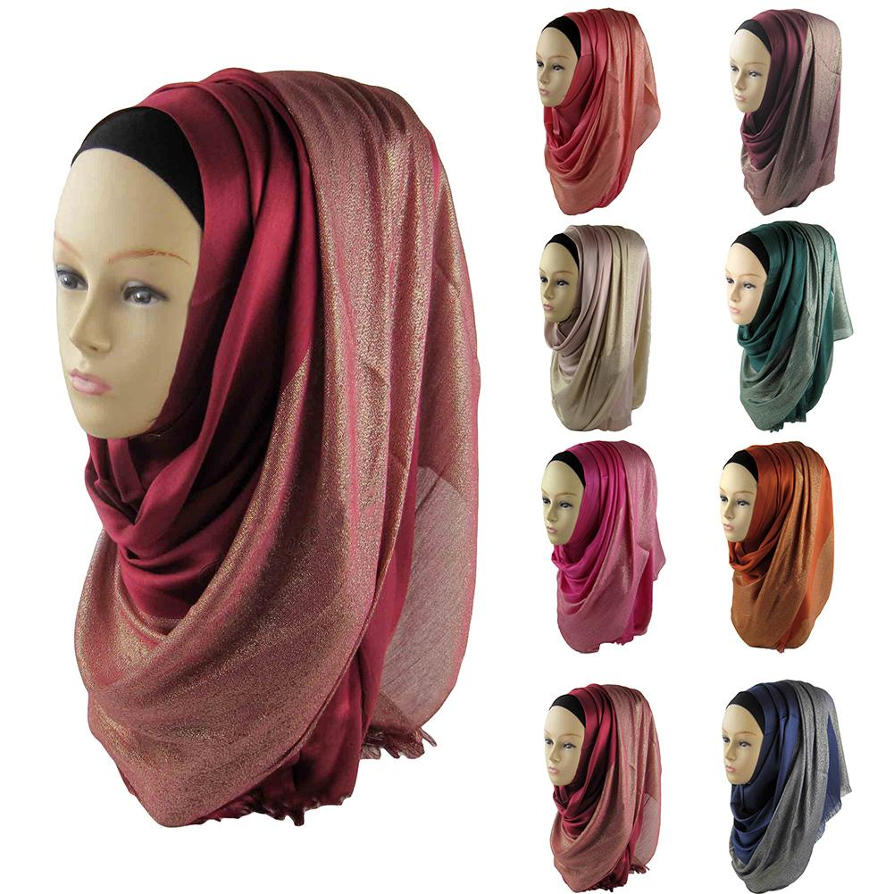 170 X 60cm Women Muslim Soft Cotton Hijab Wrap Islamic Shawl Scarf Cap Head Cover XmasGift Pashmina Winter Scarves Chalas Mujer