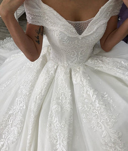 Image 5 - Arabic Lace Ball Gown Weddings Dresses lace Off The Shoulder Chapel Wedding gown Sequins Beaded Plus Size Bridal Gown