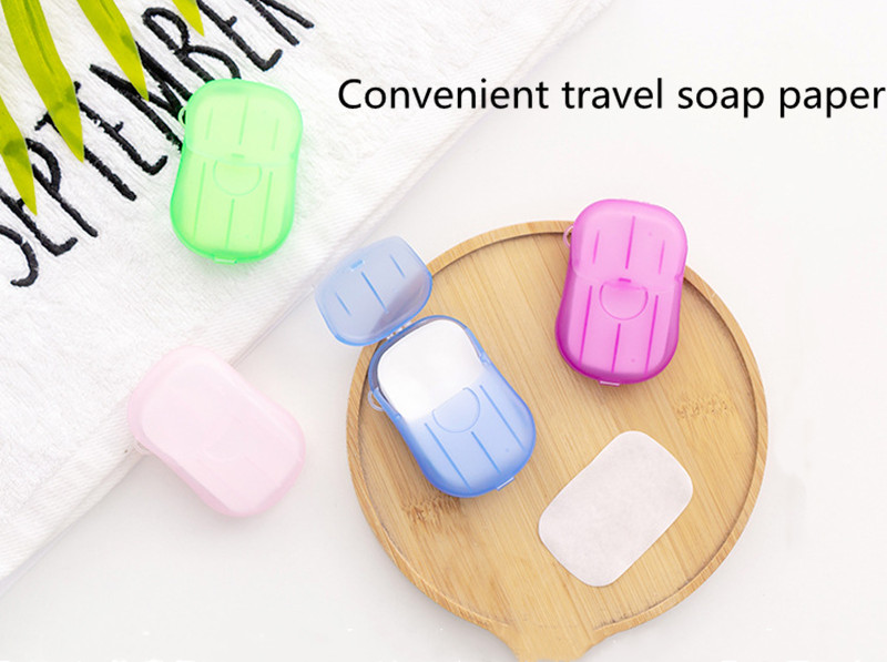New 20pcs Outdoor Travel Soap Scented Slice Sheets Paper Washing Hand Bath Clean Wash Care With Case For Camping Hiking