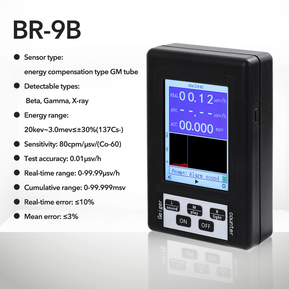 Tools : BR-9 Series Electromagnetic Radiation Nuclear Detector EMF Handheld Digital Display Geiger Counter Full-functional Type Tester