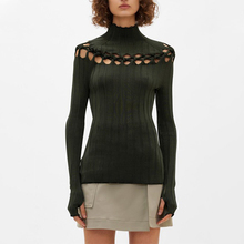 2020 Autumn Sexy Hollowed Out High Neck Knitted Sweater Women Slim Long Sleeve Solid Color Elegant Tops Bottoming Shirt