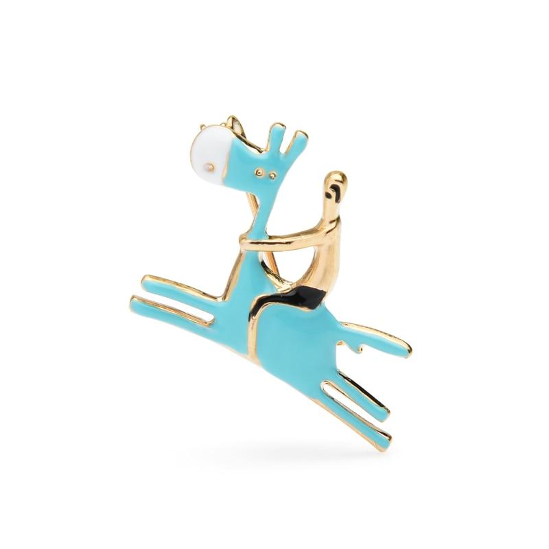 Wuli&baby Donkey Racing Horse Man Enamel Brooch Cute Little Pin Gift Christmas