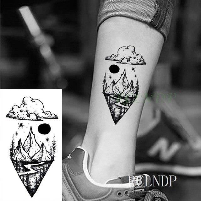 Waterproof Temporary Tattoo Stickers Moon Hill forest star Fake Tatto Flash Tatoo Tatouage Body Art Hand Foot for Girl Women Men 5