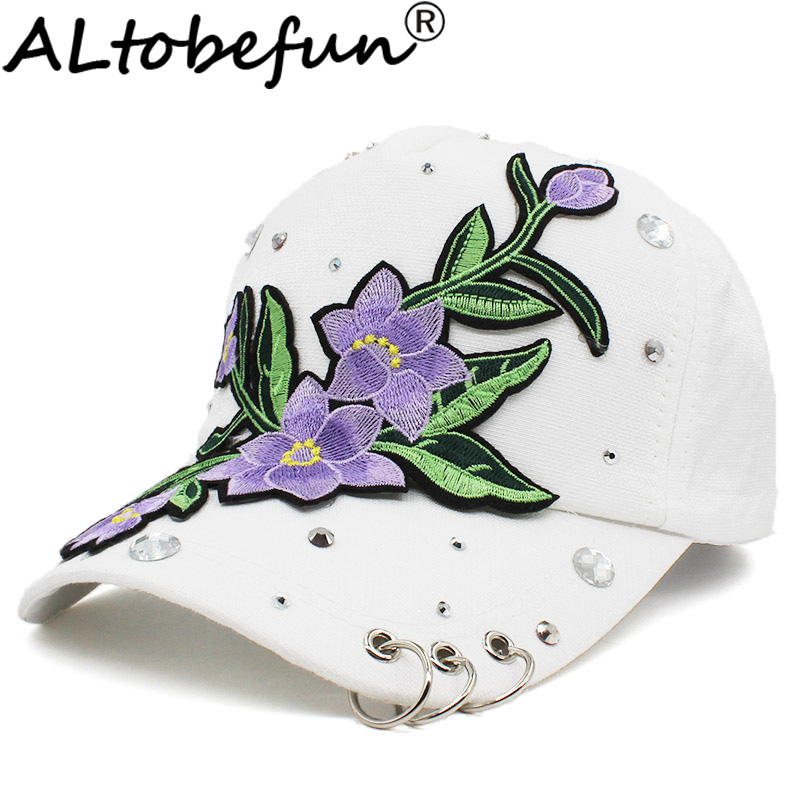 Rhinestones Baseball Cap Women Men Spring Floral Snapback Summer Cap for Girl Fitted Cap Autumn Hat