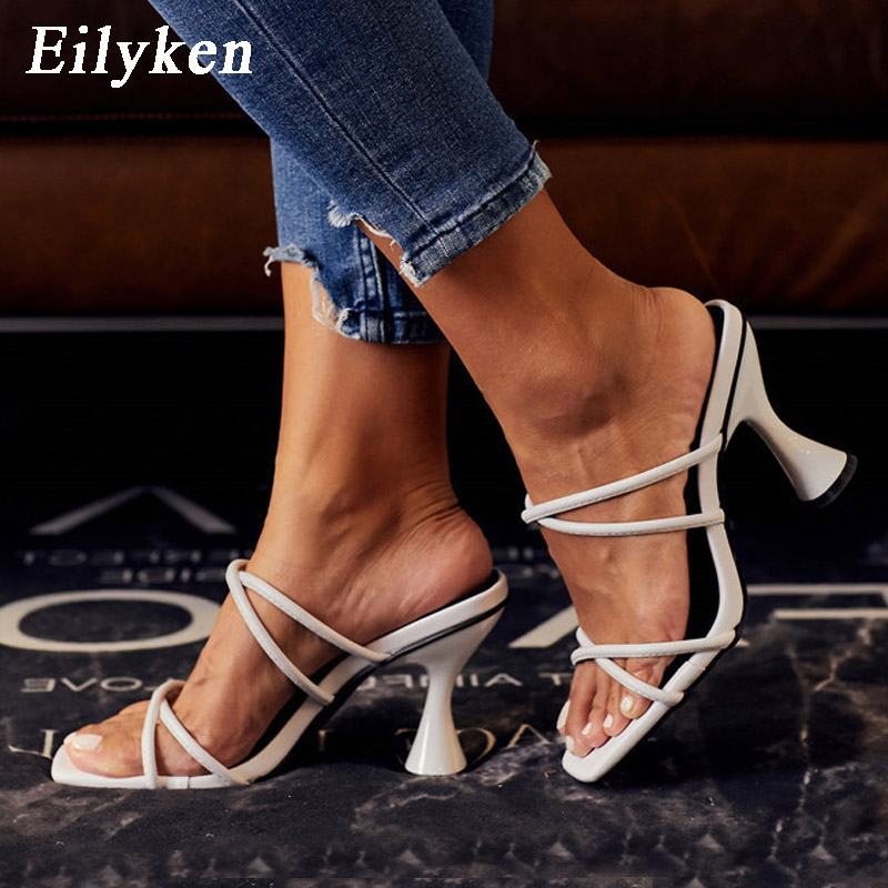 Eilyken 2020 New High Quality PU Leather Cross Strap Casual Ladies Slippers Fashion Open Toe Shallow Mouth Beach Strange Heels
