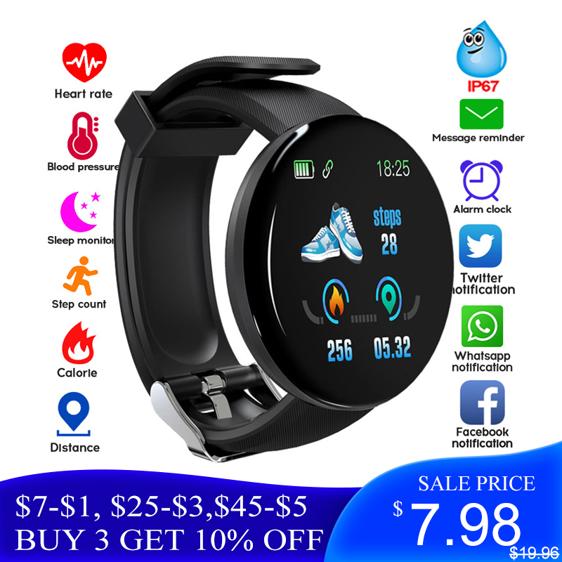 ONLY $7.98 D18 Bluetooth Smart Watch Men Blood Pressure Round Smartwatch Women Sport Tracker For Android Ios SW003