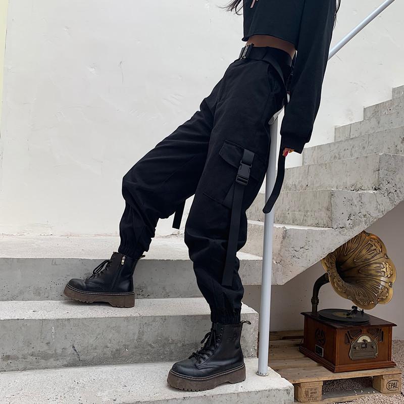 YBYR Big Pockets Cargo Pants Women Elastic High Waist Loose Streetwear Summer Pant Baggy Tactical Trouser Hip Hop Joggers Pants