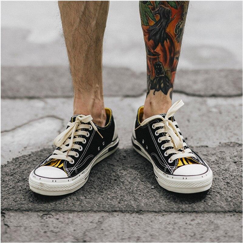 Jaune chaussures décontractées hommes coton toile chaussures à lacets hommes chaussures de marche nouveau Plimsolls chaussures pour homme été respirant baskets hommes - 4