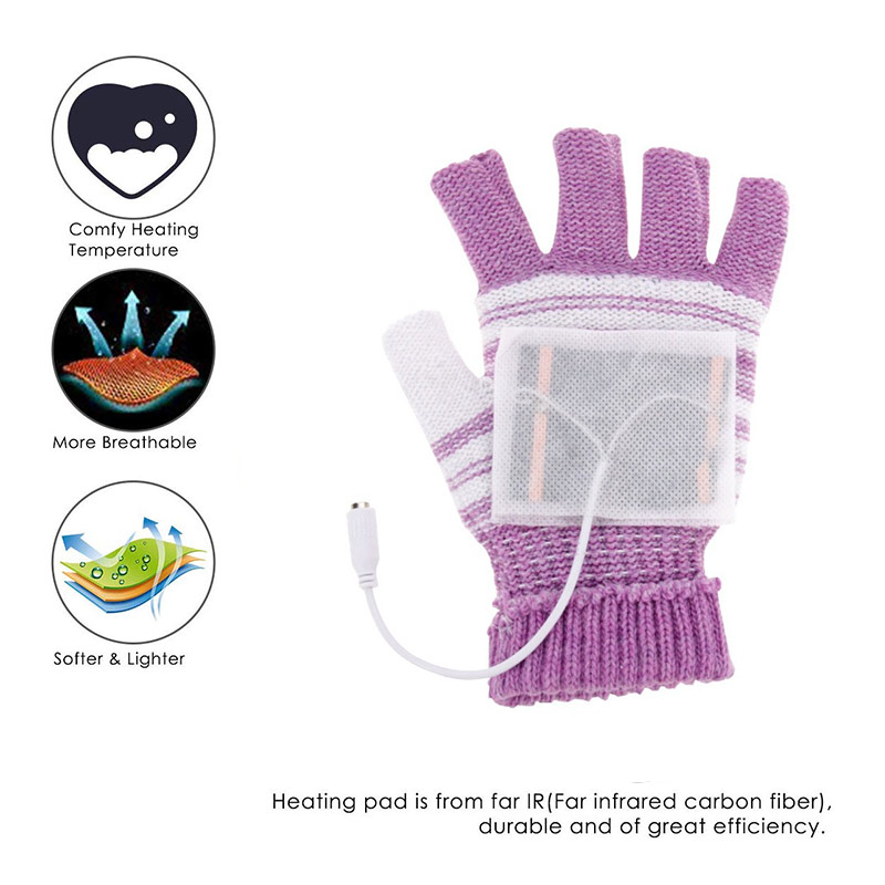 Knitted Heating Gloves Washable  Heated Hunting Motocross Ski Winter USB Motorbike Motorcycle Outdoor Gloves
