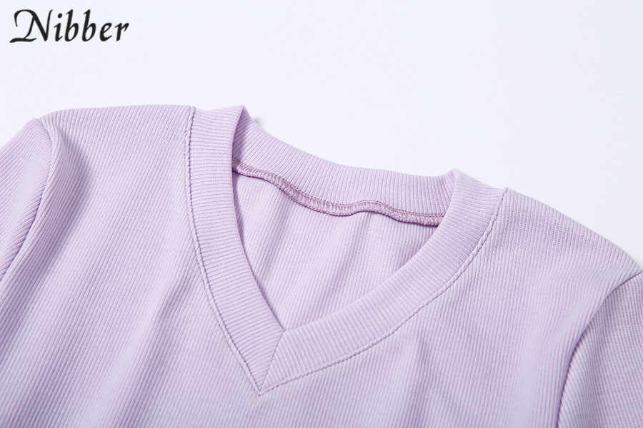 Nibber Harajuku לפרוע סריגה יבול חולצות 2019 סתיו חורף נשים אלגנטי דק סוודר רחוב מזדמן משרד בסיסי חולצות mujer