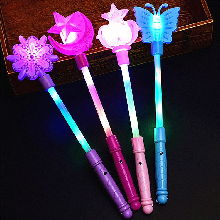 Magic Wand Children Glowing Toy Colorful Moon And Stars Magic Wand Wholesale Snow Princess Frozen Crown Flash Stick
