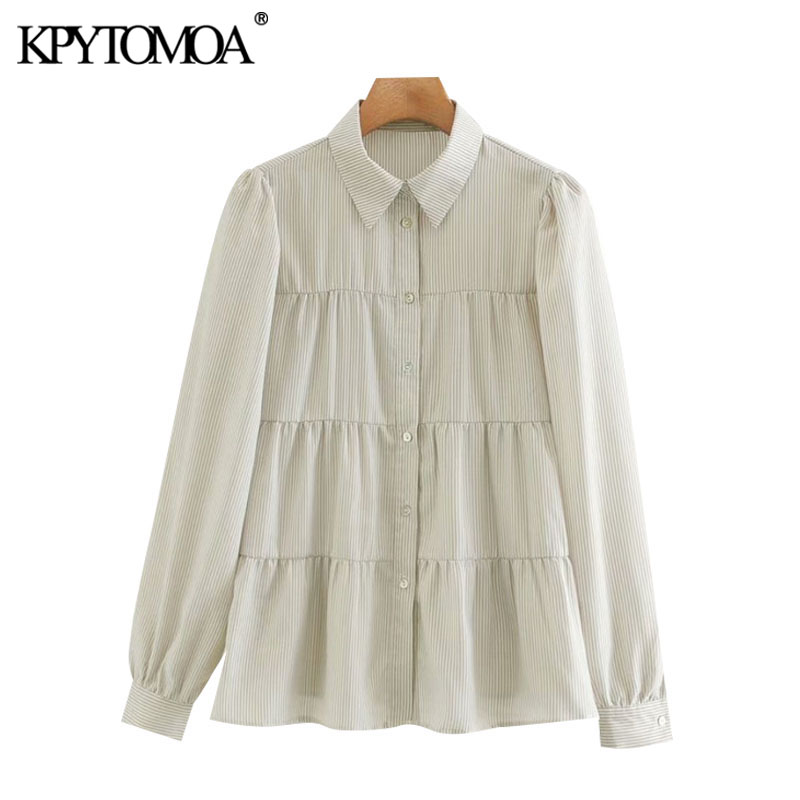 KPYTOMOA Women 2020 Fashion Button-up Striped Loose Blouses Vintage Lapel Collar Long Sleeve Female Shirts Blusas Chic Tops