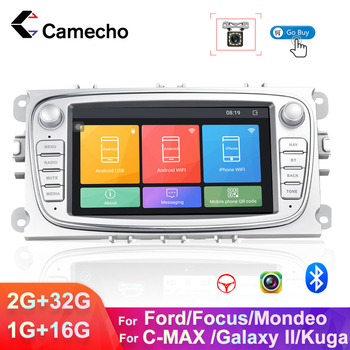 Camecho 2 Din Android 8.1 Car Multimedia player GPS Navigation 7'' Touch Radio for Ford Focus Mondeo C-MAX S-MAX Galaxy II Kuga image