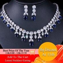 CWWZircons Luxury Dark Blue Women Wedding Party Dress Jewellery Big Dangle Drop Bridal CZ Necklace Earrings Jewelry Sets T341