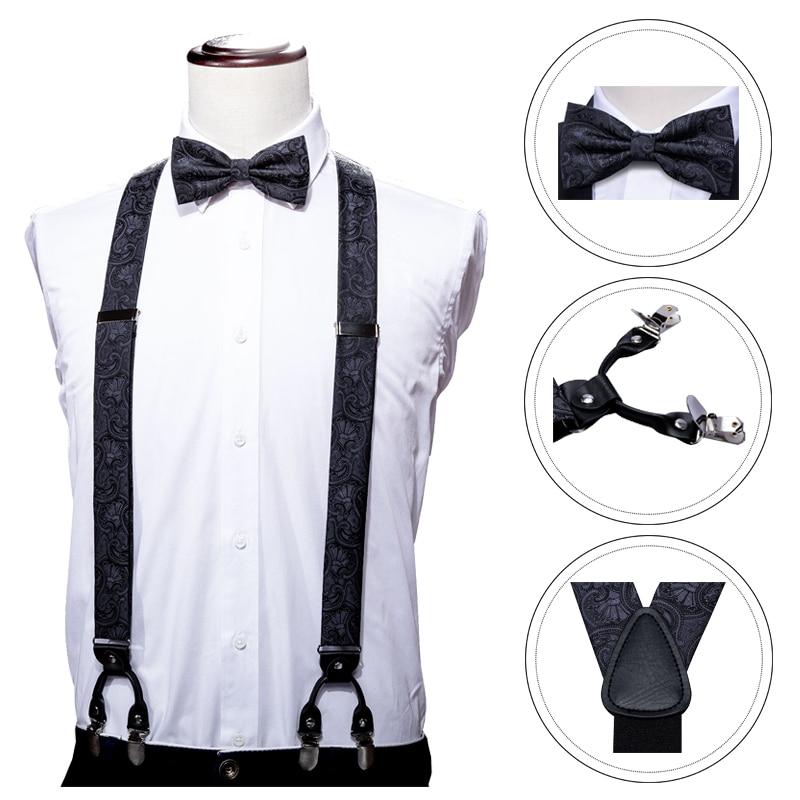 Black Paisley For Men Suspenders Shirt Bow Tie Hanky Set Woven Y-Back Silk Suspender No-slip Silver Clips Barry.WangBB-2005