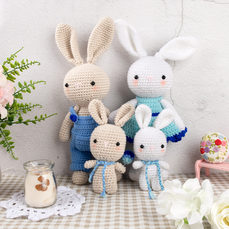Nordic Style Unfinished Knit Fabric Toy Diy Knitting Rabbit Family Toys Dinosaur Cotton Rope Toy Sets Birthday Gift Kit