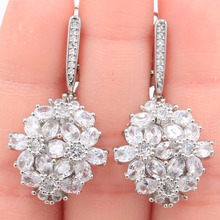 Gorgeous Big Long Golden Citrine, White CZ Wedding 925 Silver Earrings Gift