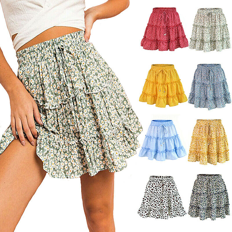Women Casual High Waisted Floral Ruffle Skirt Ladies Summer Holiday Beach Mini Skirt Holiday Beach Skirt 2019 New