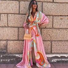 Beach Boho Maxi Dress Summer 2021 Fashion Long Loose Party Sundresses For Women Elegant Button Elastic Spring Slit Dresses Robes