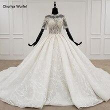 HTL1231 2020 dantel düğün elbisesi yüksek boyun yarım kollu aplike boncuk kristal dantel upback gelin sabahlık suknie slubne