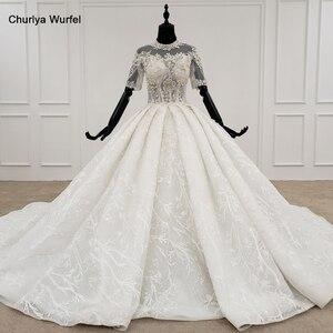 Image 1 - HTL1231 2020 lace wedding dress high neck half sleeve applique beading  crystal lace upback  bride dressing gown suknie slubne