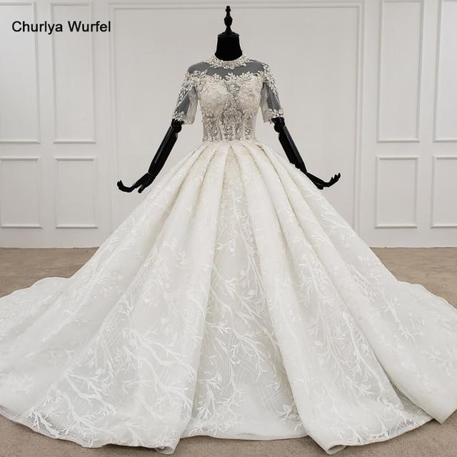 HTL1231 2020 lace wedding dress high neck half sleeve applique beading  crystal lace upback  bride dressing gown suknie slubne