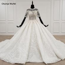 HTL1231 2020 vestido de novia de encaje de cuello alto de media manga aplique de encaje con cuentas de cristal upback vestido de novia sukynie slubne
