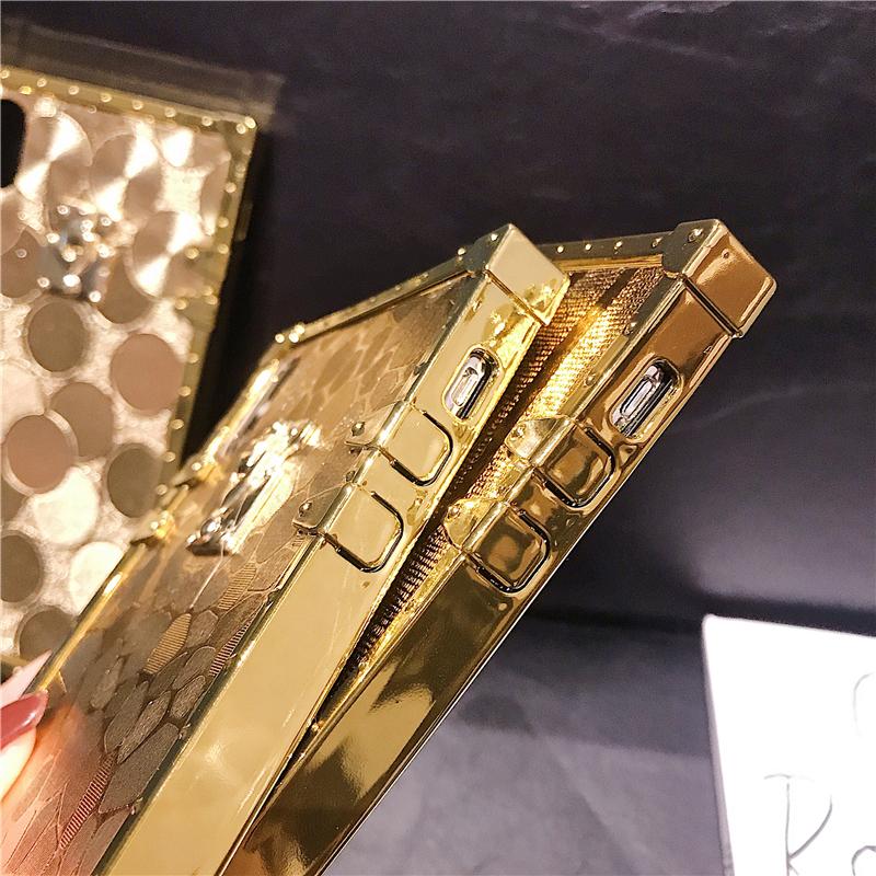 H1909a93e2a2849a6830d1e409332e066b - Hot 3D Luxury Square Gold glitter case for iphone X XR XS MAX 6 S 7 8 soft cover for Samsung S10 Plus S9 S8 coque