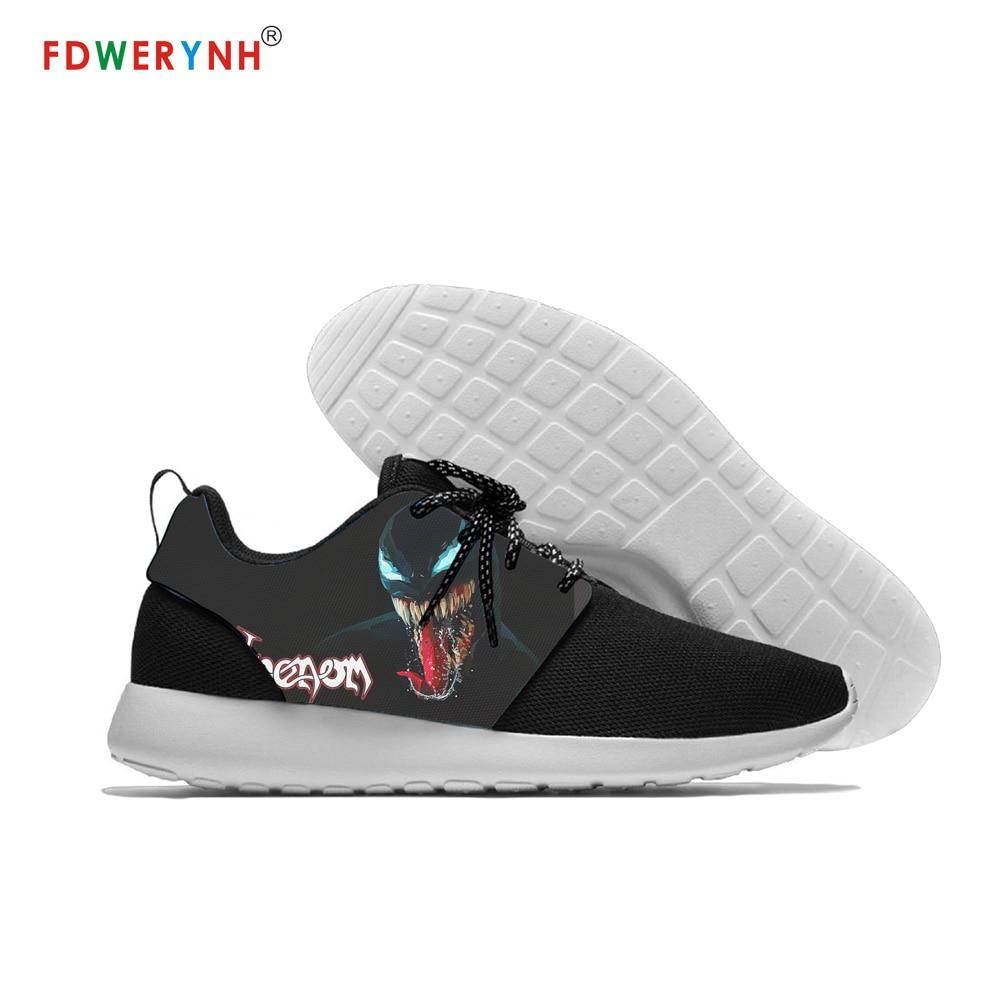Новейшая модель; мужские низкие туфли на плоской подошве с принтом Venom Marvel; уличная мужская повседневная обувь из сетчатого материала для