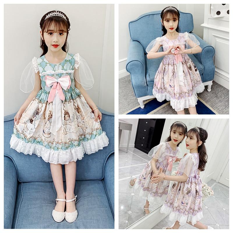 Girls dress summer bowknot short-sleeved Lolita dress children 2020 summer new girl Korean version of foreign princess skirt